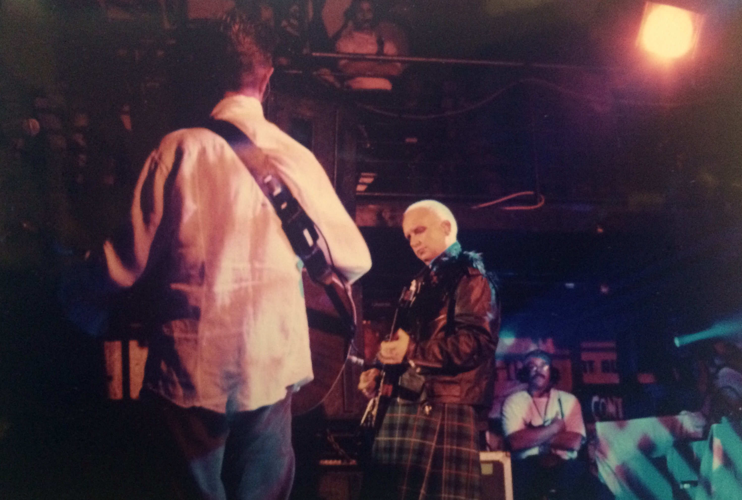 David Bowie Reeves Gabrels by Kelley Curtis outside Chili Pepper 10-7-97
